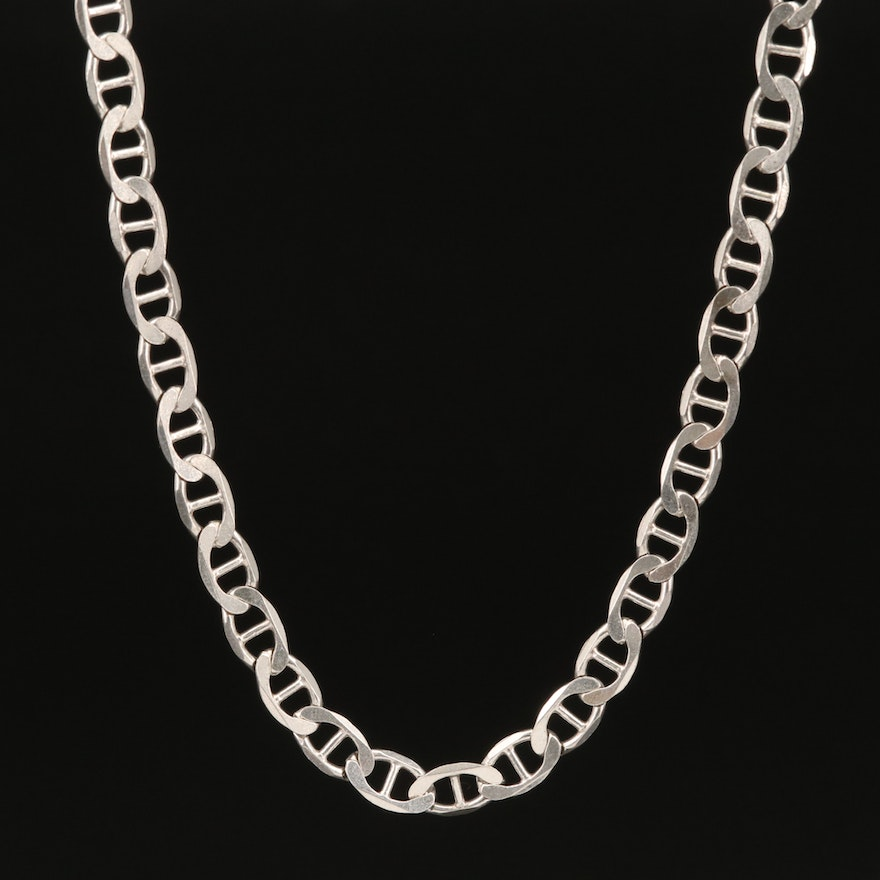 Italian Sterling Silver Mariner Chain Link Necklace