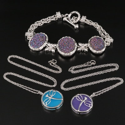 Sterling Quartzite and Diamond Dragonfly Pendant Necklaces and Druzy Bracelet