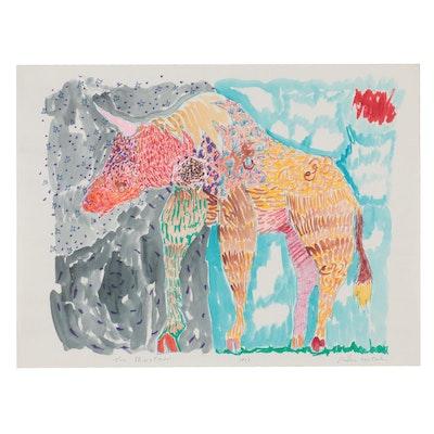 "Philip the Transplant Mixed Media Drawing ""The Minotaur,"" 1977"