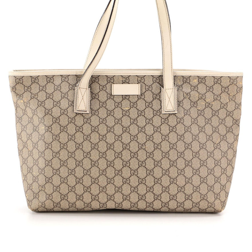 Gucci Tote in GG Supreme Canvas and Ivory Leather