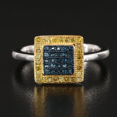 Sterling Silver Diamond Square Cluster Ring
