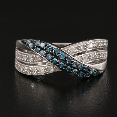 Sterling Blue Diamond and Diamond Crossover Band