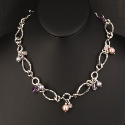 Michael Dawkins Sterling Pearl, Amethyst and Rose Quartz Necklace