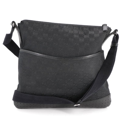 Gucci Messenger Bag in Black GG Canvas with Perforated and Smooth Leather