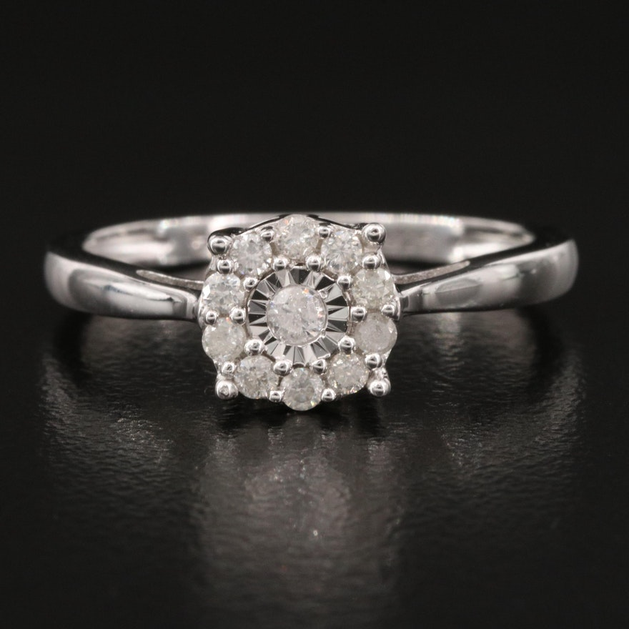 Sterling Diamond Halo Ring