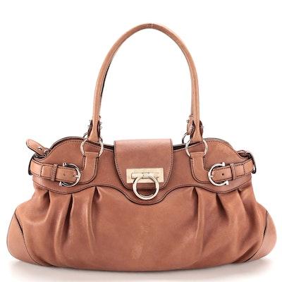 Salvatore Ferragamo Marisa Shoulder Bag in Brown Leather with Gancini Hardware