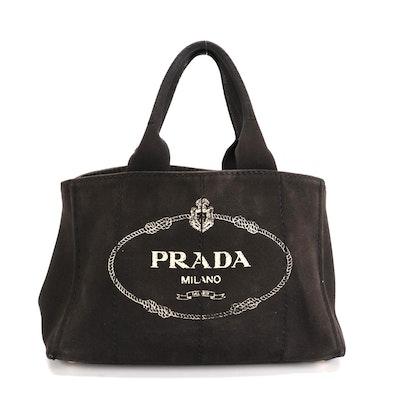 Prada Black Canapa Canvas Tote Bag