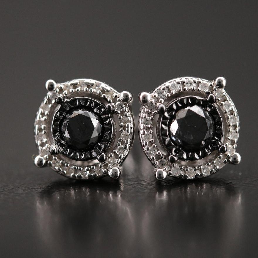Sterling Diamond Button Earrings