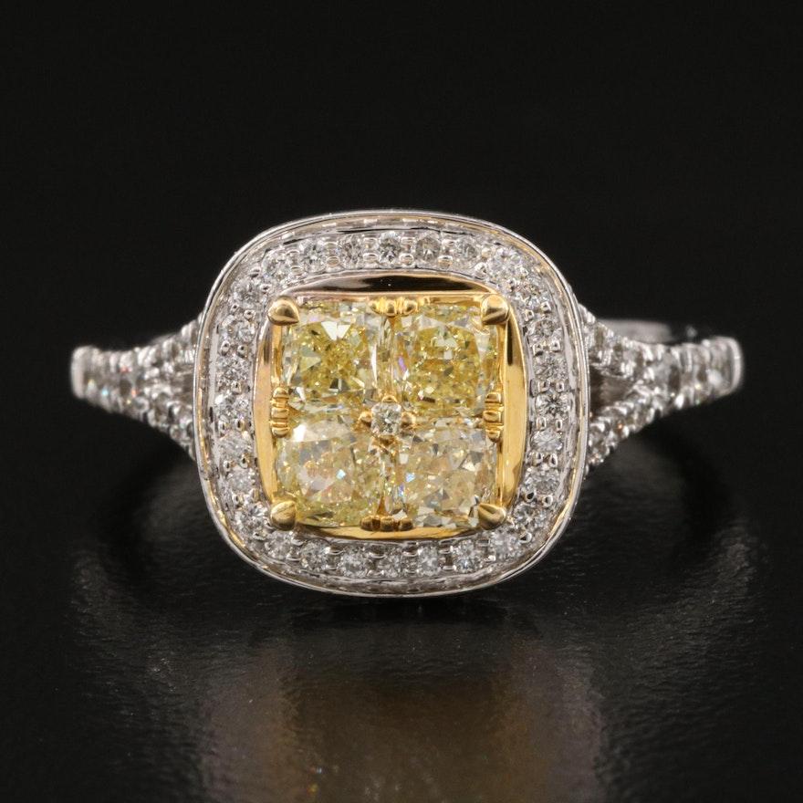 14K 1.75 CTW Diamond Halo Ring