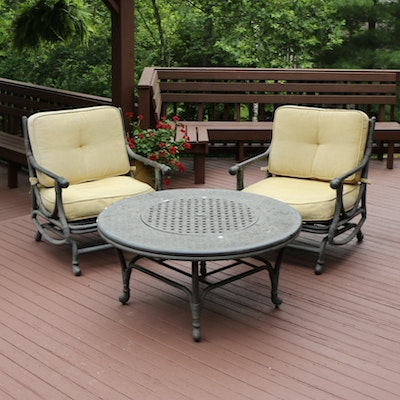 Cast Aluminum Patio Lounge Chairs and Fire Pit