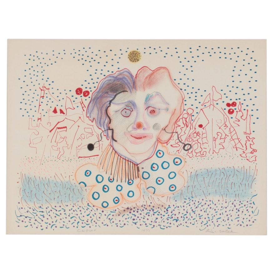 "Philip the Transplant Mixed Media Drawing ""Clown,"" 1977"