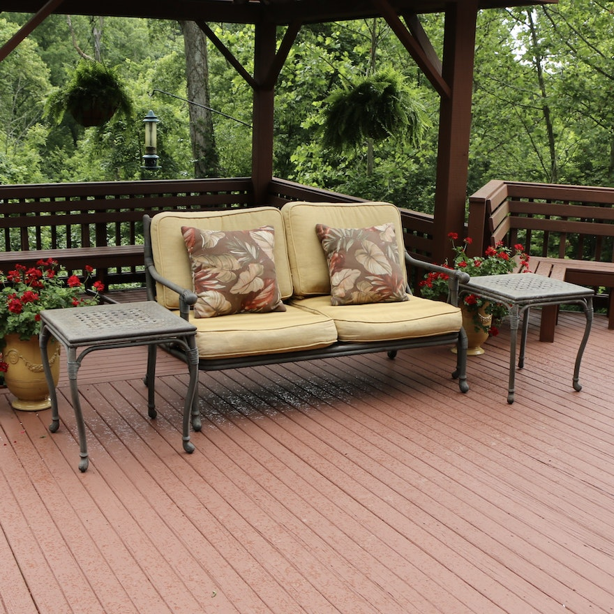 Cast Aluminum Patio Two-Seat Sofa and End Tables