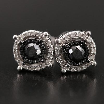 Sterling Diamond Double Halo Stud Earrings