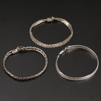 Sterling Riccio, Herringbone and Fancy Link Bracelets