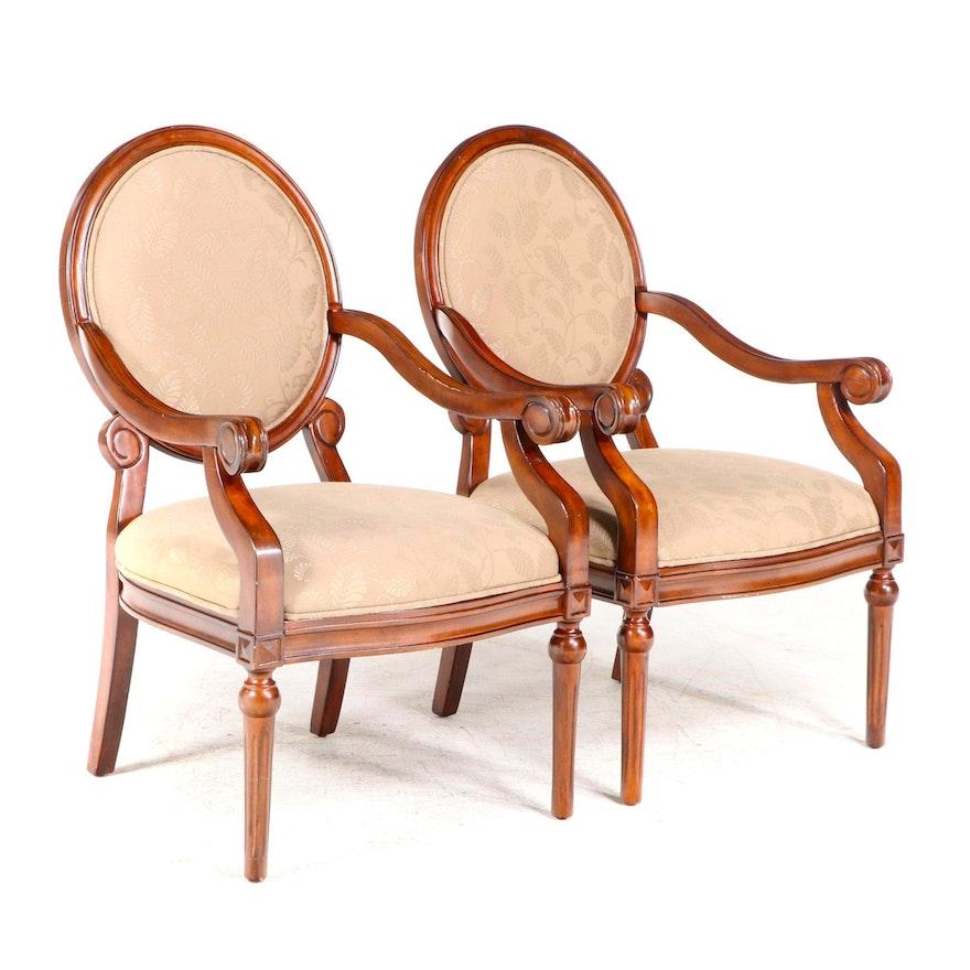 Pair of E & E Co. Ltd. Louis XVI Style Upholstered Hardwood Fauteuils