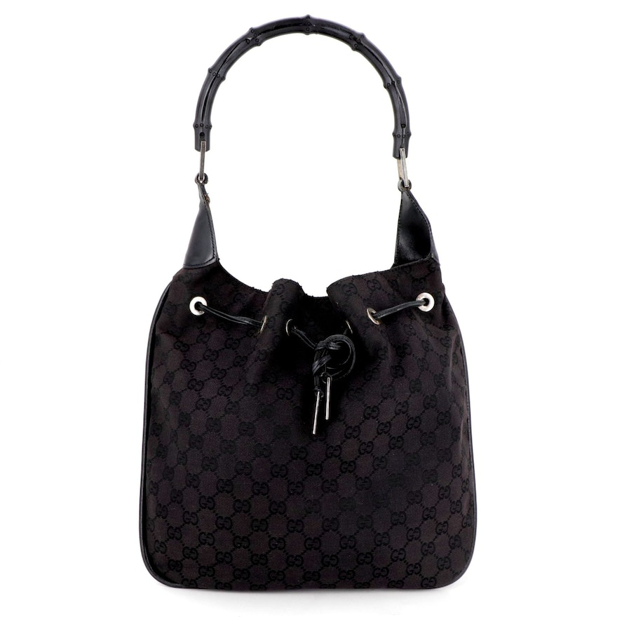 Gucci Bamboo Handle Drawstring Hobo Back in Black GG Canvas and Leather