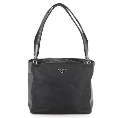 Prada Shoulder Bag in Black Tessuto Nylon and Smooth Leather