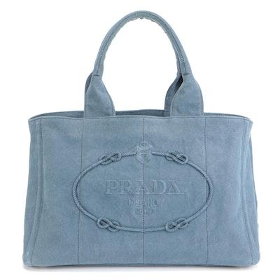 Prada Tote Bag in Blue Canvas