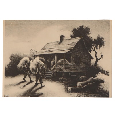 """Halftone after Thomas Hart Benton """"Back from the Fields"""""""