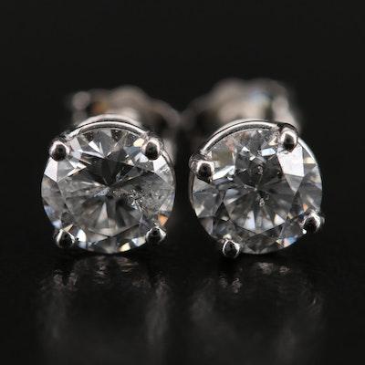 Platinum 1.41 CTW Diamond Stud Earrings with GIA eReport