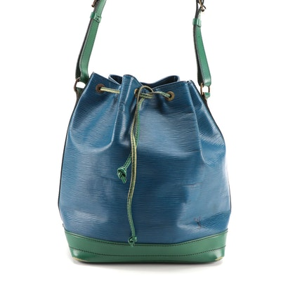 Louis Vuitton Noé Drawstring Bucket Bag in Blue and Green Epi and Smooth Leather