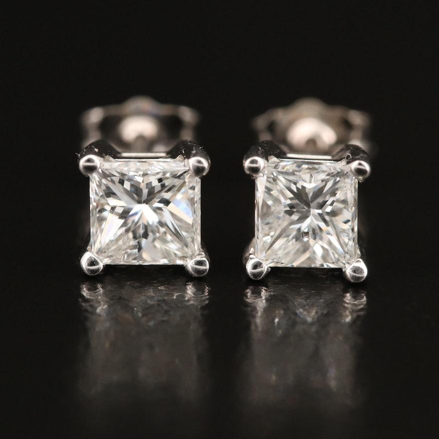 14K 1.31 CTW Diamond Stud Earrings with GIA eReports