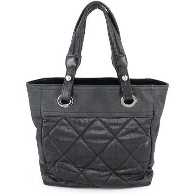 Chanel Shopper Collection Biarritz Black Quilted Coated Nylon Tote