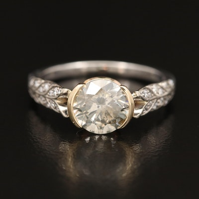 Jeff Cooper 14K 1.66 Diamond Ring with GIA Diamond Grading Report