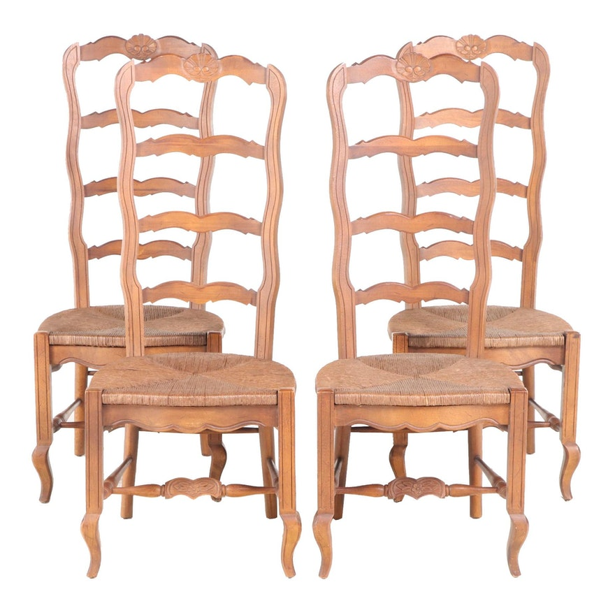 Four Drexel Enterprises French Provincial Style Walnut Side Chairs