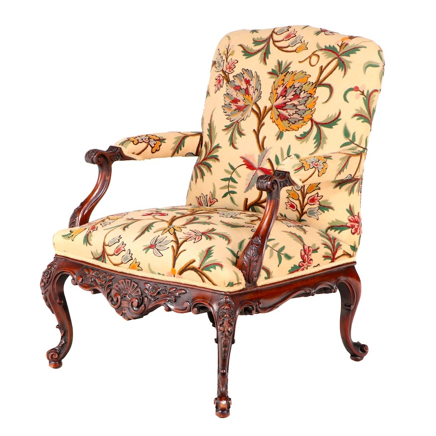 George II Carved Mahogany and Crewelwork Library Armchair, Mid-18th Century