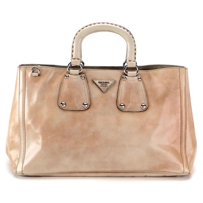 Prada Two-Way Bauletto Bag in Glace Calfskin Leather