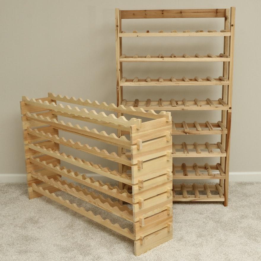 Eight-Tier and Seven-Tier Pine Stacking Wine Racks