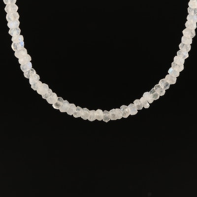 Rainbow Moonstone Beaded Necklace with Sterling Silver Clasp