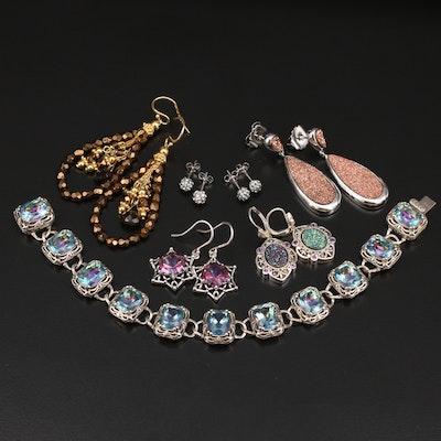 Sterling Earrings and Bracelet Including Druzy, Quartz and Gemstones