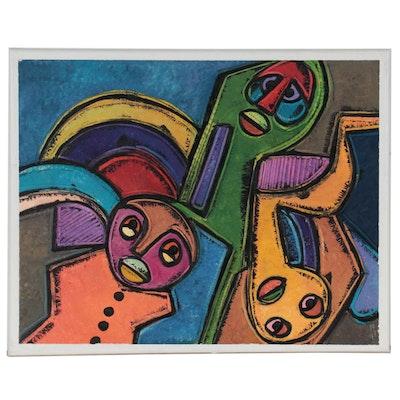 """Lanre Ayuba Acrylic Painting """"Acrobatic Display,"""" 2021"""