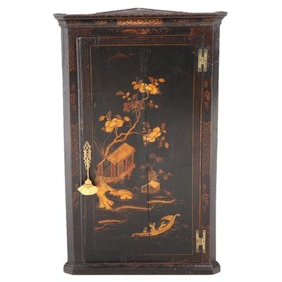 George III Chinoiserie-Decorated Oak Hanging Corner Cupboard, circa 1800