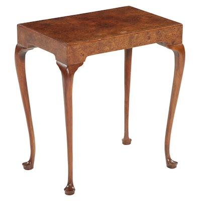Baker Furniture Queen Anne Style Burl Wood Side Table, Late 20th Century