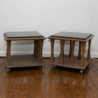 Pair of Mid Century Modern Wood and Marble Top Side Tables on Casters