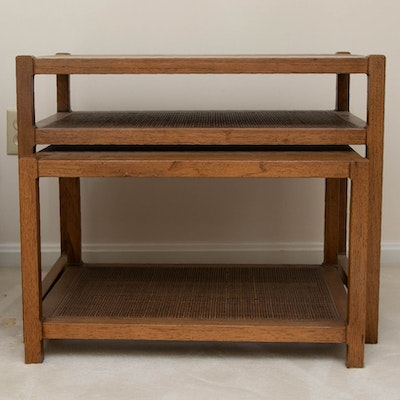 Modernist Fruitwood and Rattan Tiered Nesting Tables, Mid to Late 20th Century