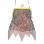 Whiting & Davis Enameled Floral Mesh Frame Bag
