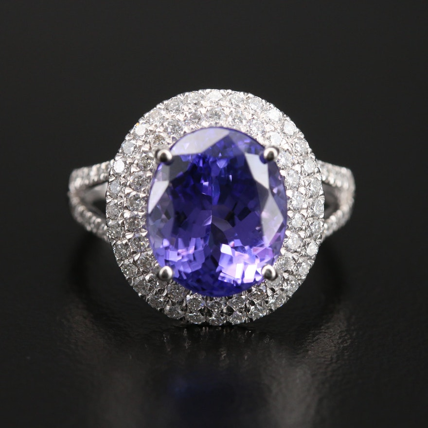 Platinum 5.41 CT Tanzanite and Diamond Ring