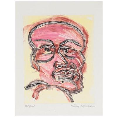 "Thomas Norulak Monoprint ""Red Head,"" Late 20th Century"