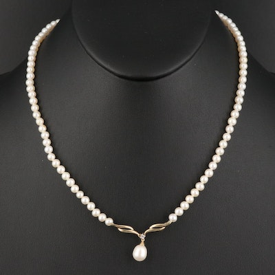 10K Pearl and White Sapphire Drop Necklace