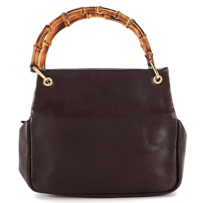 Gucci Bamboo Handle Mini Zip Tote in Brown Smooth Leather