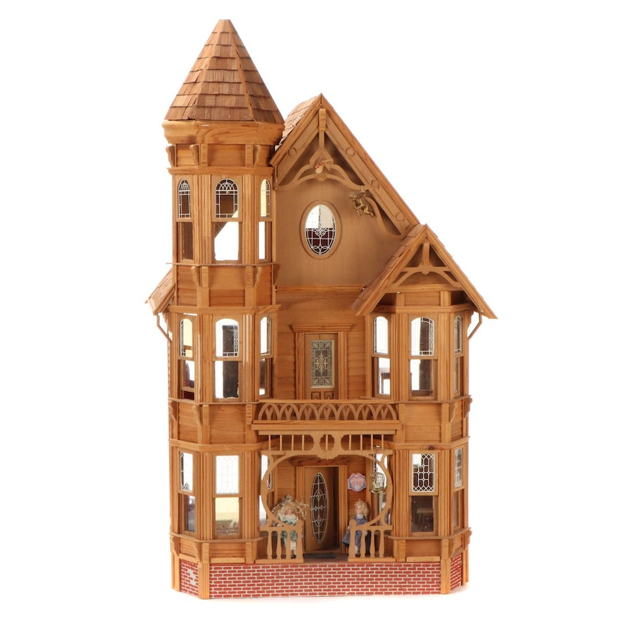 Victorian Style Dollhouse with Furniture, Merry-Go-Round, Ferris Wheel, More