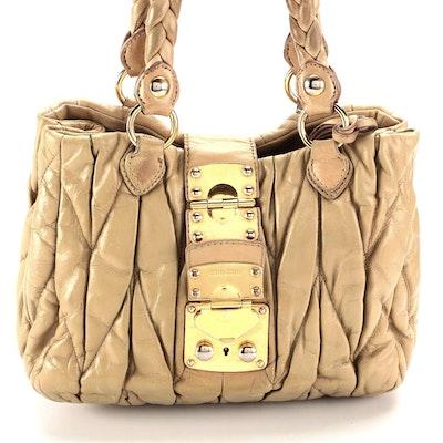 Miu Miu Bauletto Aperto Bag in Beige Matelassé Lux Leather