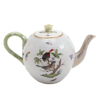 "Herend ""Rothschild Bird"" Porcelain Teapot, Early 20th Century"