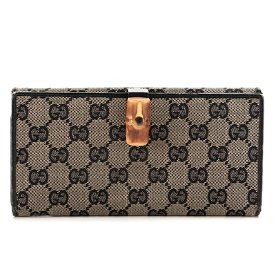 Gucci Bamboo GG Canvas and Black Leather Wallet