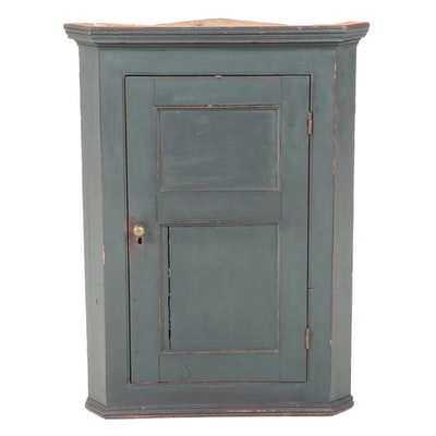 American Primitive Painted Pine Hanging Corner Cabinet, 19th Century