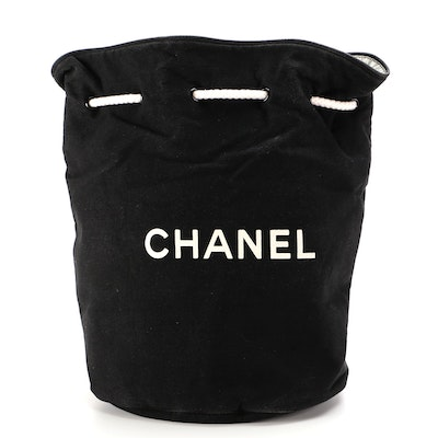 Chanel Promotional Drawstring Backpack in Black Cotton Canvas